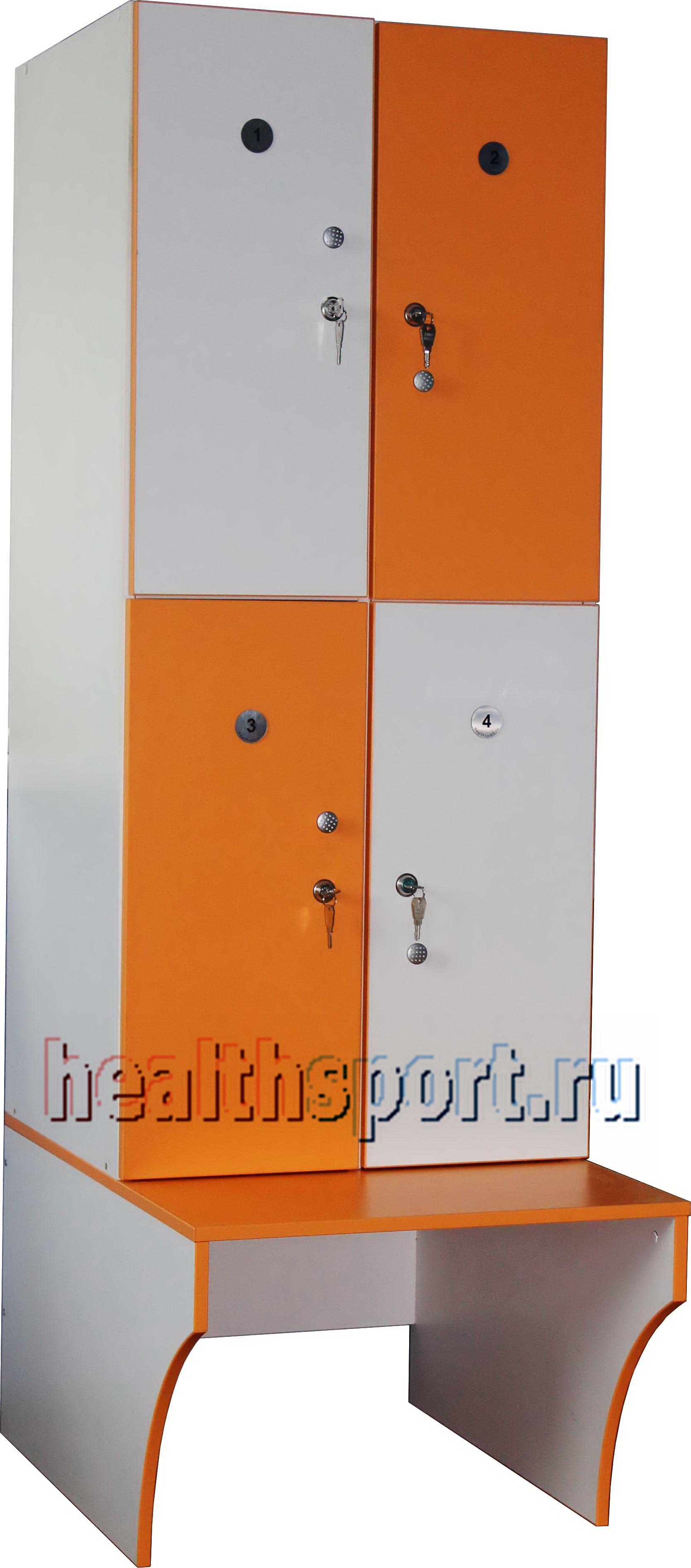 Шкаф для раздевалки 4-х секционный с лавкой