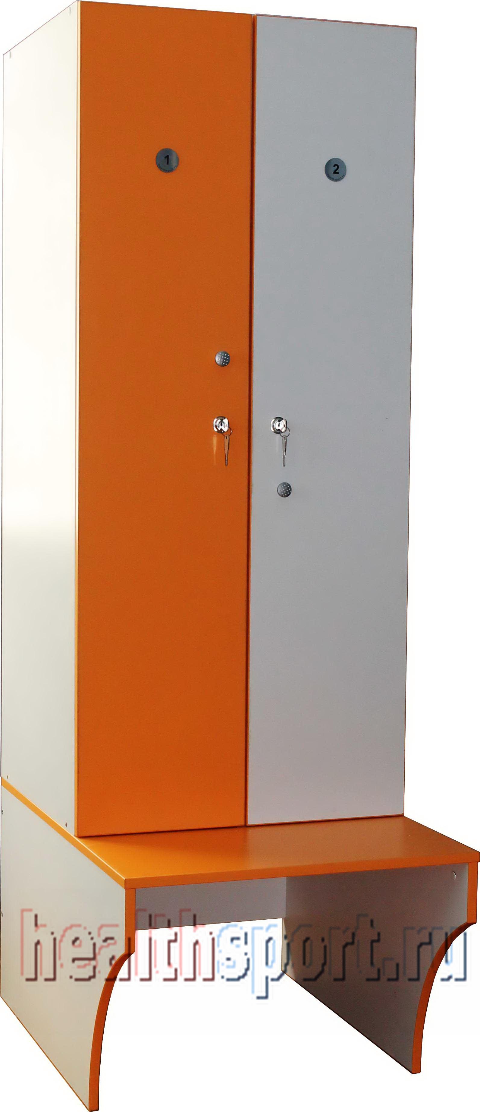 Шкаф в раздевалку 2-х секционный с лавкой