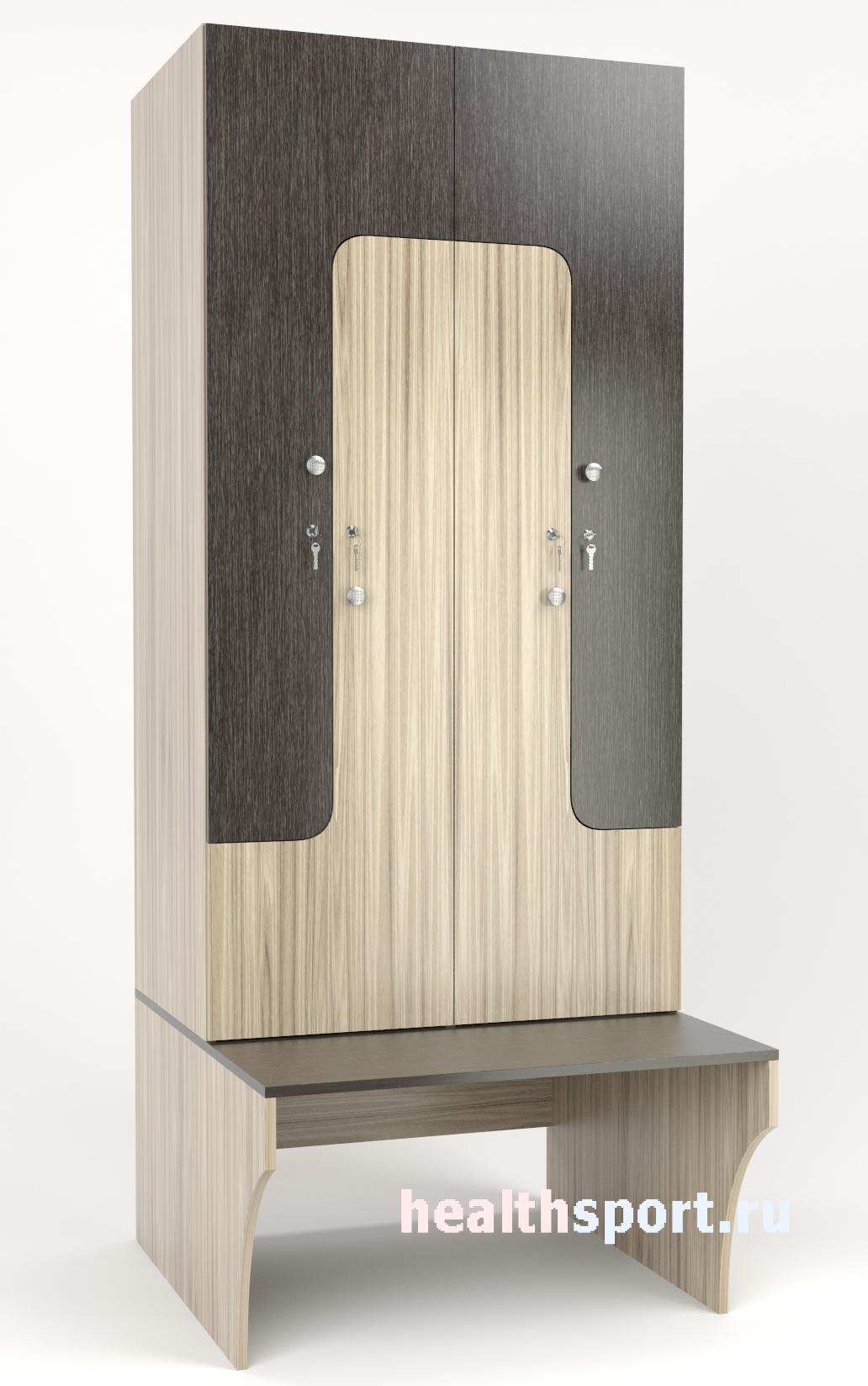 Шкаф для раздевалок Z-образный с лавкой